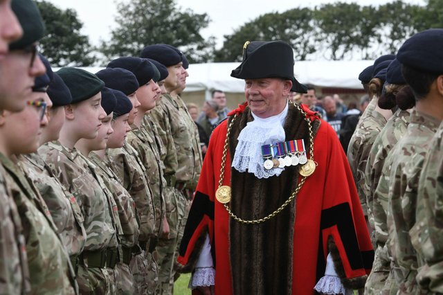 The Mayor of South Tyneside Coun Norman Dick inspecting Army Cadets at the annual Armed Forces Day in South Shields.
