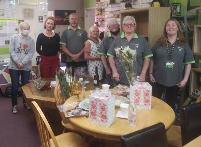 Staff and volunteers at Emmaus charity shop, Hebburn