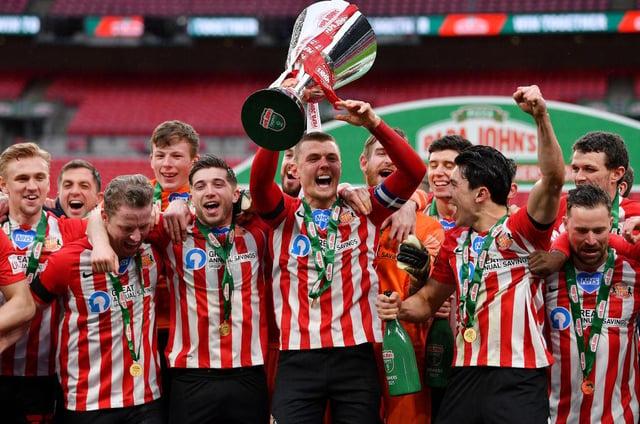 Sunderland celebrate their trophy win