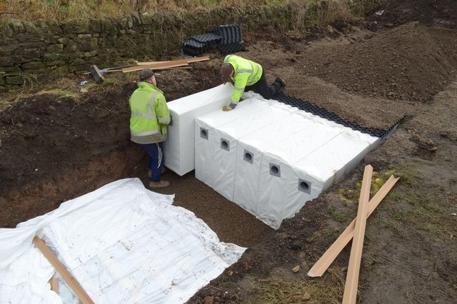 The Hydrorock system being installed at Lizard Lane