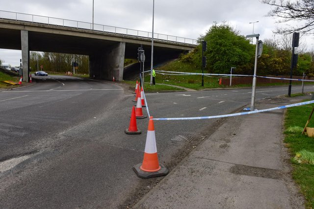 The eastbound slip road from the A184 onto the A194 is closed at the Whitemare Pool junction.