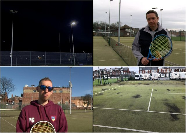 The current floodlights (above, left) are in need of replacement, say club bosses; chairman, Mike McGurrell, appeals for financial support (above, right); Phil Givens, the club's head coach, hopes to see more residents taking up tennis during the Covid months (below, left); the playing surface is in need of maintenance work, the club says (below, right).