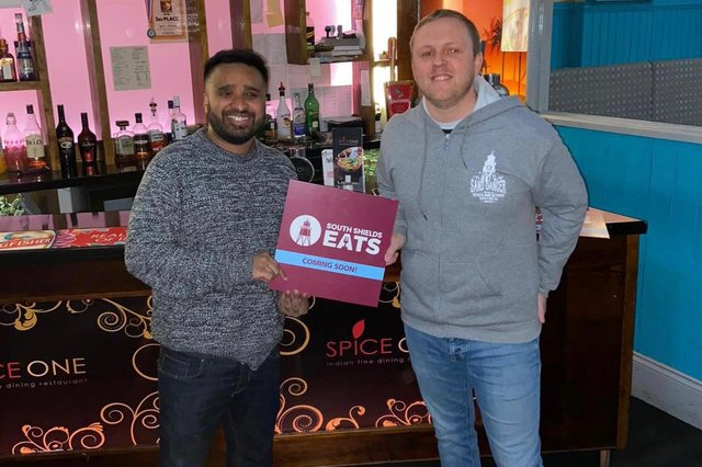Representative Matt Fenton (right) with Abdul Miah from Spice One, one of the participating restaurants in the soon-to-be-launched South Shields Eats scheme