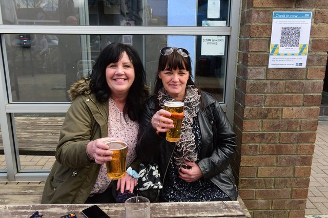 Friends Lesley Dickman and Claire Todd enjoying a drink at the Clover & Wolf, South Shields on Monday.