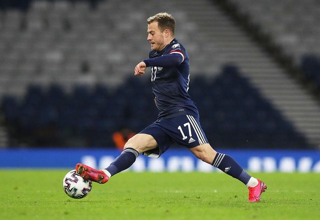 Ryan Fraser of Scotland controls the ball during the FIFA World Cup 2022 Qatar qualifying match between Scotland and Faroe Islands on March 31, 2021 in Glasgow, Scotland.