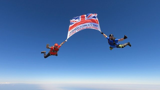 Still showing the Armed Forces Day flag starting its journey, courtesy of Sky-High Skydiving at Shotton Colliery.