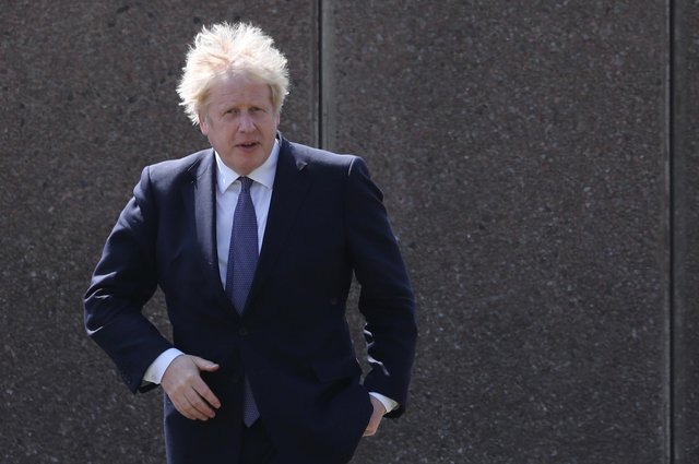 Prime Minister Boris Johnson during a visit to Cleves Cross Primary school in Ferryhill, County Durham. Picture date: Thursday May 13, 2021.
