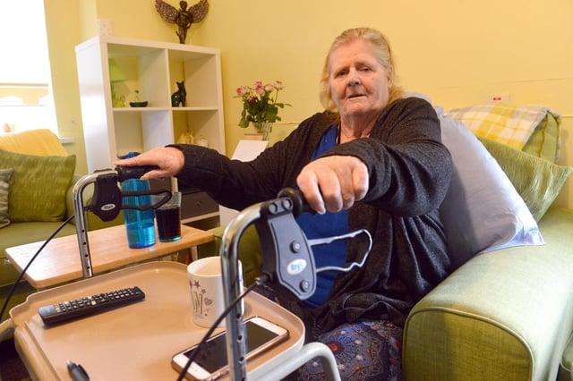 Frank Bushell House resident Jannette Johnson returns home after spending time in hospital with Covid.