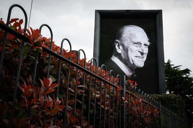 A digital billboard displays a portrait of Prince Philip, Duke Of Edinburgh who died at age 99. Picture: Leon Neal/Getty Images.