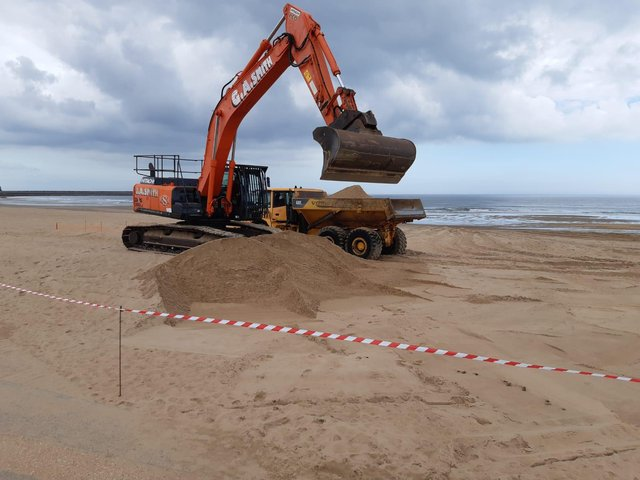 Teams at work on the South Shields annual beach clean operation