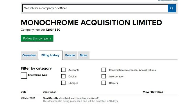 The Companies House update filed today in relation to the BZG takeover company 'Monochrome Acquisition Limited'.