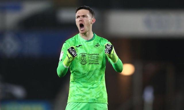 Freddie Woodman on loan at Swansea City last season.