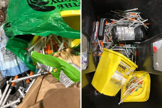 Pictures issued by South Tyneside Council of the worrying find in a bin wagon load