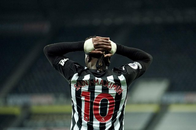 Allan Saint-Maximin of Newcastle United reacts after his goal is disallowed during the Premier League match between Newcastle United and Wolverhampton Wanderers at St. James Park on February 27, 2021 in Newcastle upon Tyne, England.