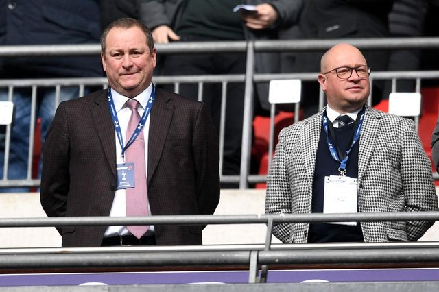 Newcastle United owner Mike Ashley and managing director Lee Charnley. (Photo by Michael Regan/Getty Images)