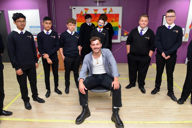 Actor Michael Mather with students from Mortimer Community College during the LGBT Diversity event.