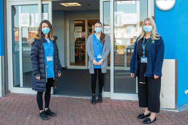 University of Sunderland Pharmacy Students Jodi Inch, Rebecca Gair, and Naomi Dover