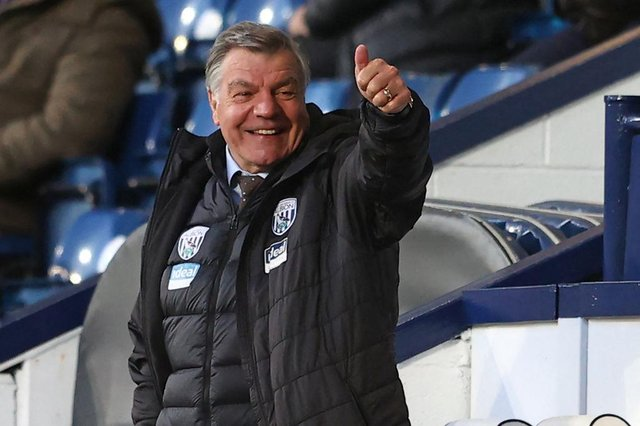 West Bromwich Albion's English head coach Sam Allardyce gestures during the English Premier League football match between West Bromwich Albion and Southampton at The Hawthorns stadium in West Bromwich, central England, on April 12, 2021.