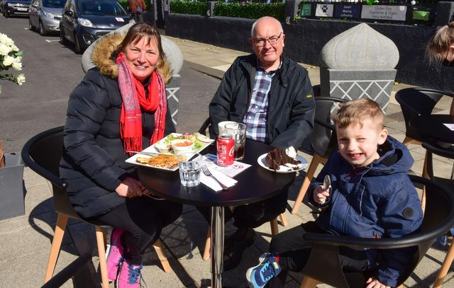 Ken and Pat Dodd, with grandson Isaac enjoying lunch at The Clifton in South Shields on Monday.