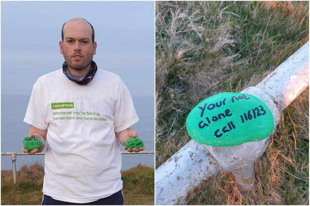 Philip Mclachlan has left messages along the cliff tops in South Shields urging people in distress to seek help.