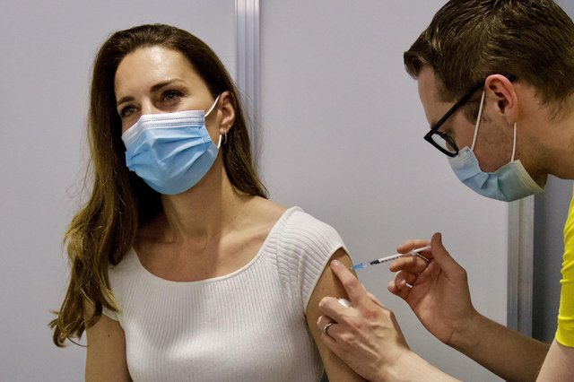 Picture tweeted by the Duke and Duchess of Cambridge showing the Duchess receiving her coronavirus vaccine on Friday at London's Science Museum. Issue date: Saturday May 29, 2021. Copyright: Duke and Duchess of Cambridge.