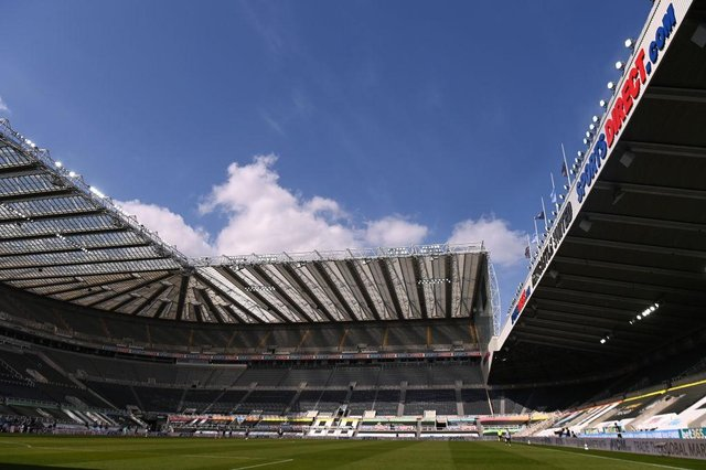 A general view of St James' Park during the Premier League match between Newcastle United and West Ham United at St. James Park on April 17, 2021 in Newcastle upon Tyne, England.