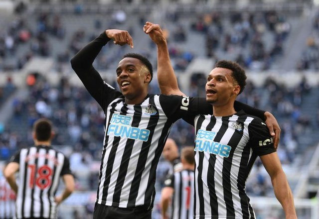 Joe Willock celebrates with Jacob Murphy at Newcastle United. (Photo by Stu Forster/Getty Images)
