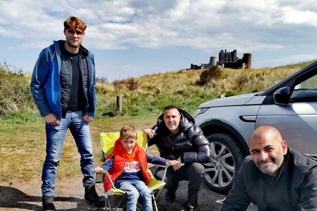 Alfie Lindon meets Top Gear presenters Freddie Flintoff, Paddy McGuinness and Chris Harris at Bamburgh.