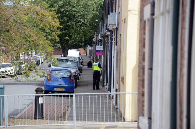 Police on Marshall Wallis Road in South Shields following the incident.