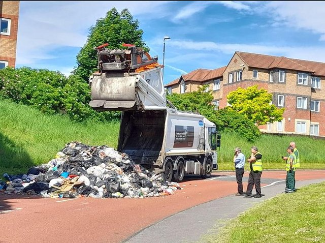The waste dumped into the street in Felling after the bin load caught fire
