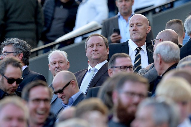 Mike Ashley, owner of Newcastle United, looks on during the Premier League match between Newcastle United and Leicester City at St. James Park on September 29, 2018 in Newcastle upon Tyne, United Kingdom.