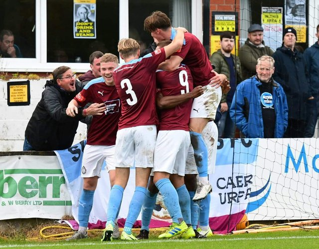 The South Shields players celebrate.