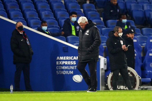 Steve Bruce, head coach of Newcastle United, looks dejected during the Premier League match between Brighton & Hove Albion and Newcastle United at American Express Community Stadium.