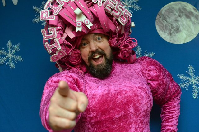 Big Pink Dress Colin Burgin-Plews is judging the People's Angels baking competition