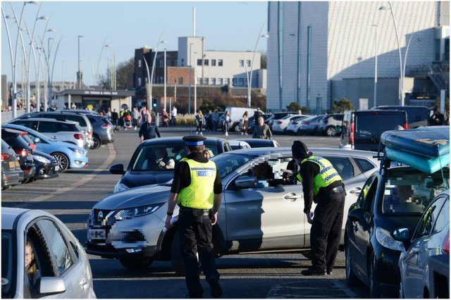 Police officers were speaking to drivers at South Shields seafront. Picture: North News.