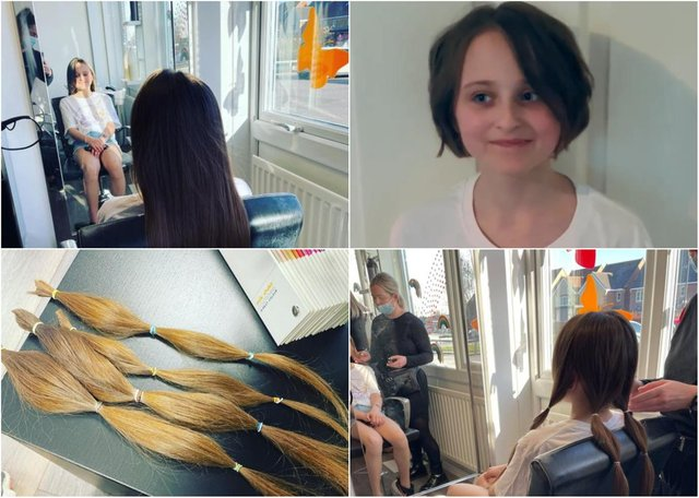 10-year-old Eva pre- and post-chop, with her donated hair pictured (below, left).