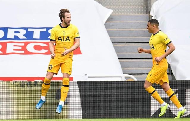 Tottenham's Harry Kane celebrates scoring against Newcastle.
