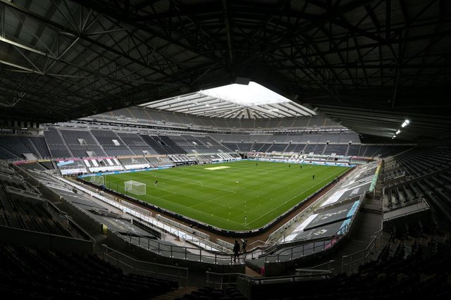 NEWCASTLE UPON TYNE, ENGLAND - NOVEMBER 01: General view inside the stadium prior to the Premier League match between Newcastle United and Everton at St. James Park on November 01, 2020 in Newcastle upon Tyne, England. Sporting stadiums around the UK remain under strict restrictions due to the Coronavirus Pandemic as Government social distancing laws prohibit fans inside venues resulting in games being played behind closed doors. (Photo by Alex Pantling/Getty Images)