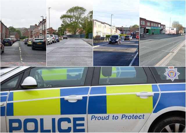 Some of the locations across South Tyneside, top, where most crime was reported to Northumbria Police, bottom, according to latest figures.