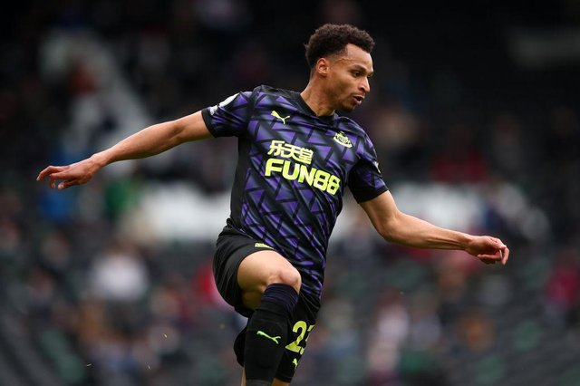 Jacob Murphy of Newcastle United in action during the Premier League match between Fulham and Newcastle United at Craven Cottage on May 23, 2021 in London, United Kingdom.