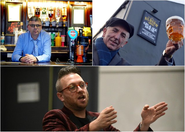 Lee Hughes, of Jarrow's Red Hackle pub (top-left); Jess McConnell, who runs The Albion, also in Jarrow (top-right); and Stephen Sullivan, owner of Ziggy's Bar in South Shields (below)