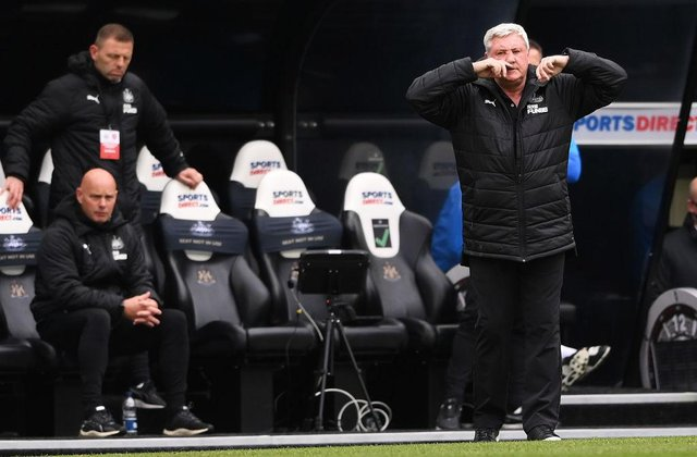 Steve Bruce, Manager of Newcastle United reacts during the Premier League match between Newcastle United and Arsenal at St. James Park on May 02, 2021 in Newcastle upon Tyne, England.