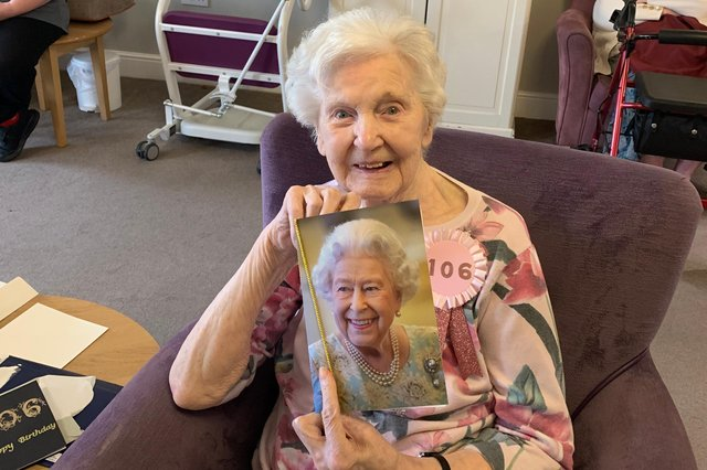 Sheila Cork with her letter from the Queen on her 106th birthday