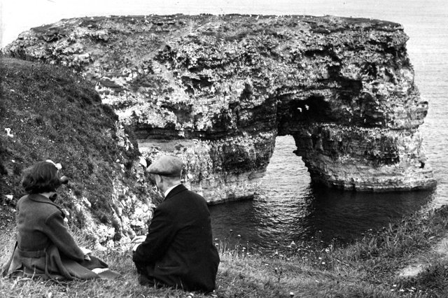 What could be better than watching the bird population at Marsden Rock, just like this couple in August 1963.