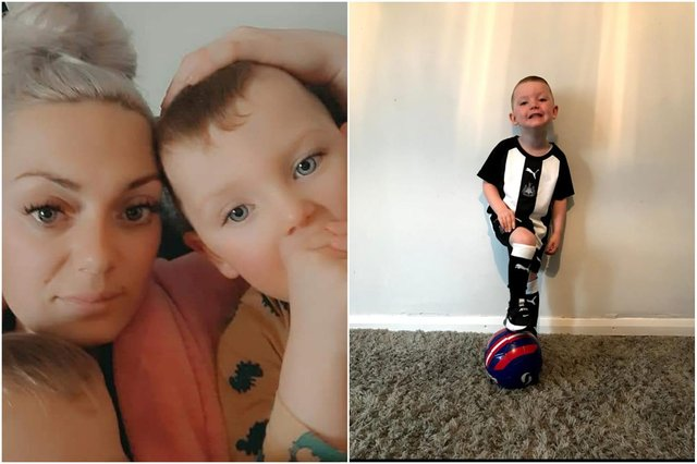 Mum Kayleigh Johnston with son Robbie.