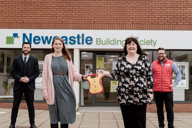 Pictured (left to right): Stewart Nichol, of Newcastle Building Society; Jayne Rudd and Jannette Curry, of the Sisters of Shields group; and Sergio Petrucci of the Red Sky Foundation.