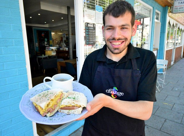 Bryn Howard, volunteer at Change, South Shields with a vegan saveloy dip.