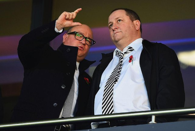 Newcastle United owner Mike Ashley and managing director Lee Charnley. (Photo by Laurence Griffiths/Getty Images)