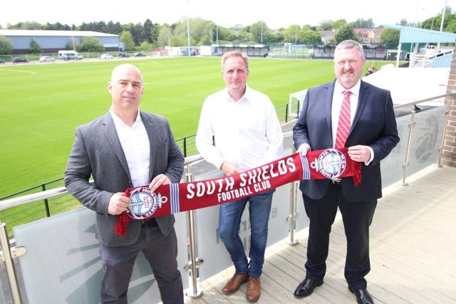 (From left to right) CFS Managing Director Darren Carlisle, South Shields FC Business Development Manager Colin Docherty and CEFO Group Chief Financial Officer David Williams.