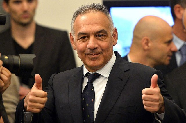 AS Roma's president James Pallotta poses before to present the Rome's new stadium project during a press conference on March 26, 2014 in Rome.